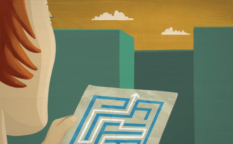 El mapa del laberinto. Ilustración para el módulo 2, «Planeando con perspectiva de género».