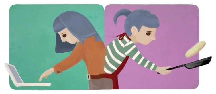 Doble jornada. Ilustración para el epígrafe 5.4, «Doble Jornada y Doble Presencia».