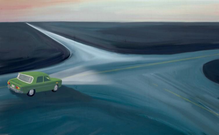 Encrucijada en un Simca 1000. Ilustración para el módulo 5, «Camino hacia el empleo».