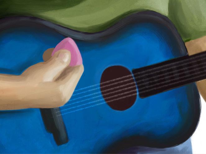 Detalle de la guitarra de Martín